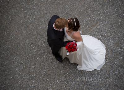 Hochzeit Brautpaar von oben Schloss Heidegg Burg Luzern © Bilifotos.ch