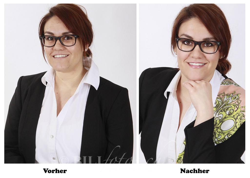 Bewerbungsfoto Vorher Nachher mit MakeUp & Haarestyling Personalcheffin (Biljanas iMacs in Konflikt stehende Kopie 2016-06-29)