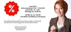 Aktion April 2019 Bewerbungsfoto inkl Makeup und Haarstyling Bilifotos Flyer